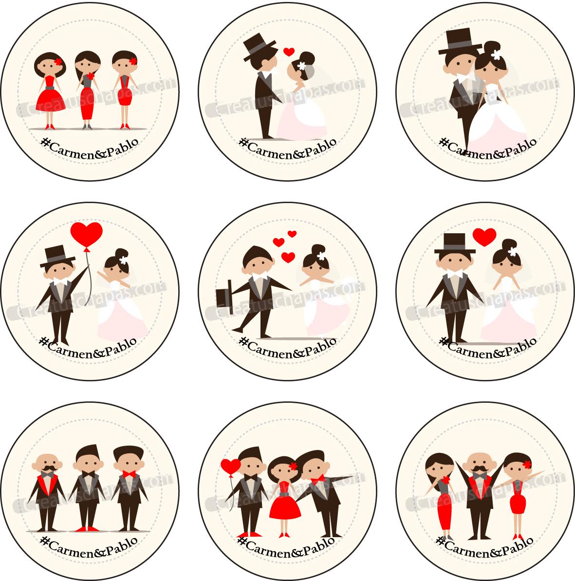 Crea tus chapas chapas personalizadas - Cosas para preparar una boda ...